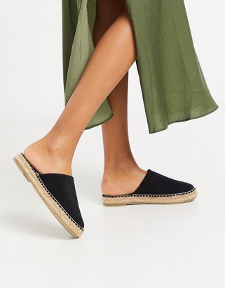 Asos DESIGN Journey suede espadrille mules in black