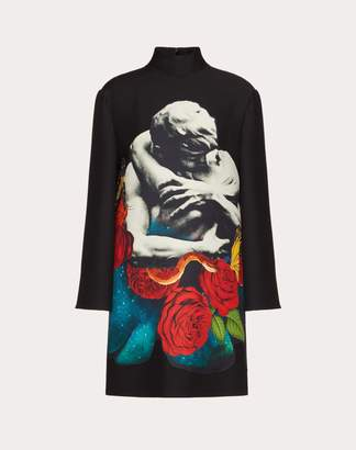 Valentino Crepe Couture Dress With Applied Undercover Print Women Multicoloured Virgin Wool 65%, Silk 35% 40