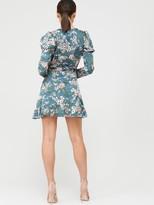 Missguided Puff Sleeve Ruffle Hem Wrap Tea Dress - Teal
