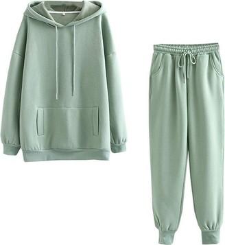 Amandaz Woman Tops + Pants Set Women Solid Color Sets Hood Wear Lounge Wear Suit Sport Set Tops+Pants