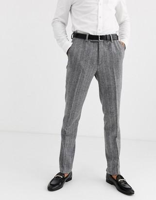Avail London skinny suit trousers in grey herringbone tweed