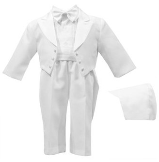 Little Angels Christening Baptism Authentic Tuxedo Set with Cummerbund and Bowtie with Back Tails (Baby Boy)