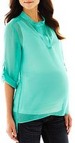 JCPenney Asstd National Brand Maternity Roll-Sleeve Sheer Woven Top