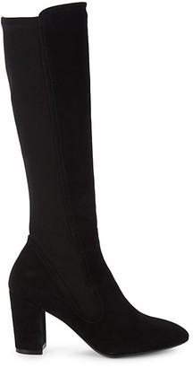 Stuart Weitzman Livia Suede Block Heel Tall Boots