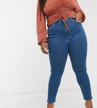 ASOS DESIGN Curve high rise ridley 'skinny' jeans in bright midwash blue