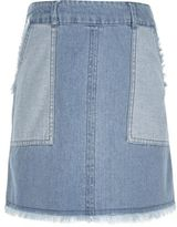 River Island Girls blue denim frayed hem skirt