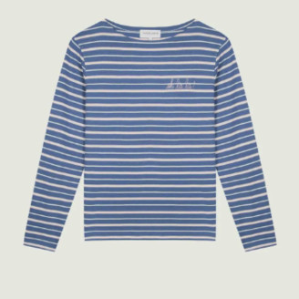 Maison Labiche Ivory and Navy Oh La La Sailor T Shirt - xs | cotton | Ivory/Navy