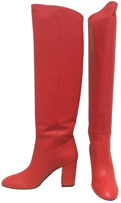 Off-White Red Leather Boots
