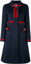 Gucci GG web bow embellished coat - women - Silk/Cotton/Acetate/Wool - 38