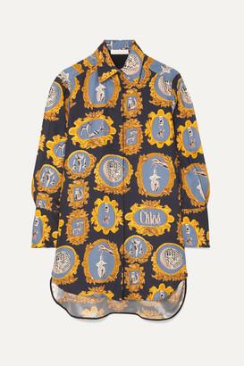 Chloé Oversized Printed Silk-satin Shirt - Navy