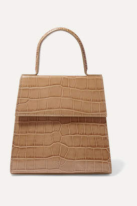 BY FAR Monet Croc-effect Leather Tote - Taupe