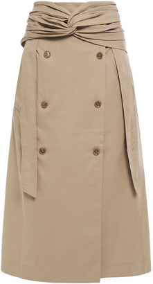 Rokh Twist-front Button-embellished Cotton-gabardine Midi Skirt