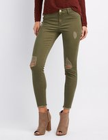 Charlotte Russe Refuge Skin Tight Legging Destroyed Jeans