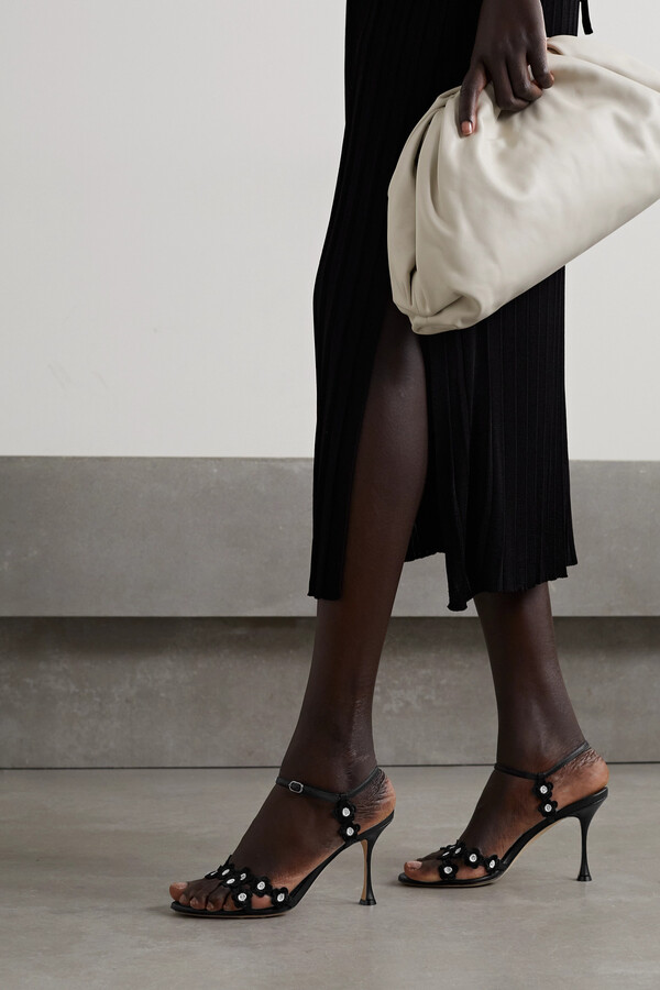 Thumbnail for your product : Manolo Blahnik Margolia Appliqued Leather Sandals - Black