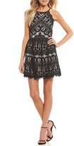 Dear Moon Two-Tone Lace Fit-And-Flare Dress