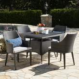 Bronx Ivy Backlund Outdoor Wicker Square 5 Piece Dining Set with Cushions Ivy Color: Gray