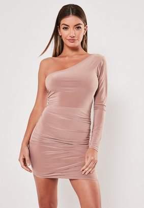 Missguided Slinky One Shoulder Drape Bodycon Mini Dress