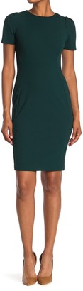 Calvin Klein Short Sleeve Seamed Sheath Dress
