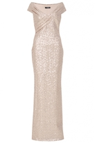 Quiz Rose Gold Sequin Cross Front Bardot Maxi Dress