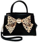 Betsey Johnson Bow You See It Leopard Removable Bow Satchel