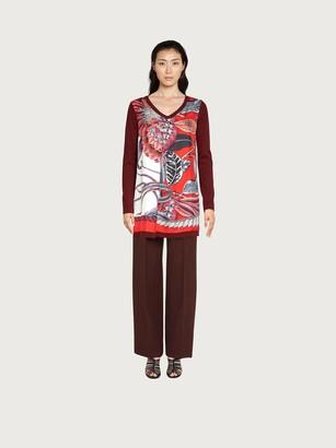 Salvatore Ferragamo Women Long sleeved V-neck tunic Red