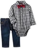 Carter's 3-Pc. Check-Print Bodysuit, Bow Tie & Jeans Set, Baby Boys (0-24 months)