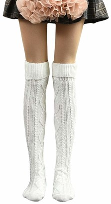 Huyghdfb Women Christmas Cable Knit Extra Long Boot Socks Ladies Over The Knee High Thigh Stocking Leg Warmers (White One Size)
