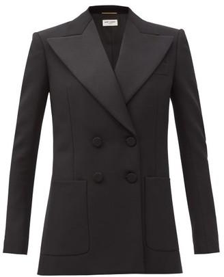 Saint Laurent Double-breasted Grain-de-poudre Wool Tuxedo Jacket - Black