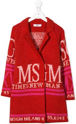 MSGM Kids oversized logo cardigan