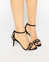 Dune Maria Leopard Pony Ankle Strap Mid Heeled Sandals