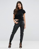 Replay Leather Look Jogger Pants