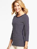 Talbots Weekend Rib Side-Button Tee- Stripes