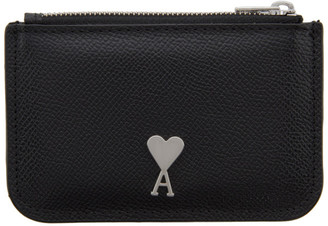 Ami Alexandre Mattiussi Black Logo Stud Card Holder