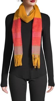 La Fiorentina Wool Striped Fringe Scarf