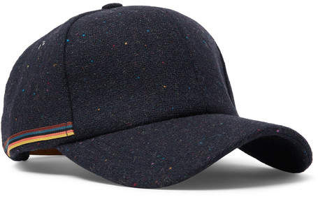 486b9c846 Stripe-trimmed Wool-tweed Baseball Cap - Navy