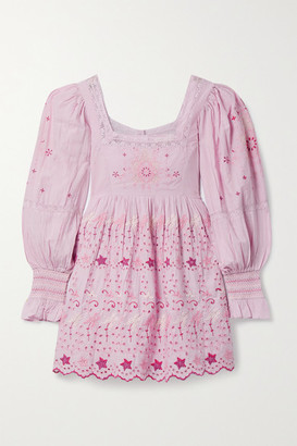 LoveShackFancy Freja Lace-trimmed Embroidered Broderie Anglaise Cotton-voile Mini Dress - Lavender