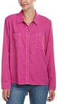 Splendid Women's Rayon Crosshatch Pocket Button Down Shirt