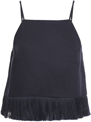 Mother of Pearl Tasmin Cropped Fringe-trimmed Sateen Camisole