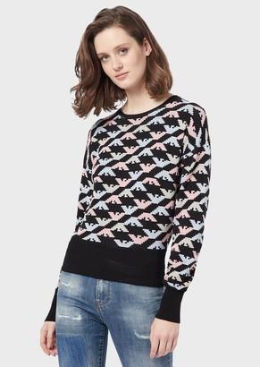 Emporio Armani Sweater With All-Over Jacquard Eagles