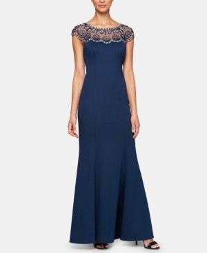 Alex Evenings Embellished Illusion Gown