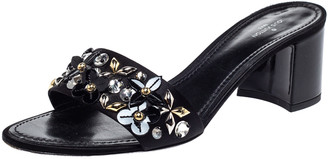 Louis Vuitton Black Satin Applique Embellished Block Heel Slide Sandals Size 39.5