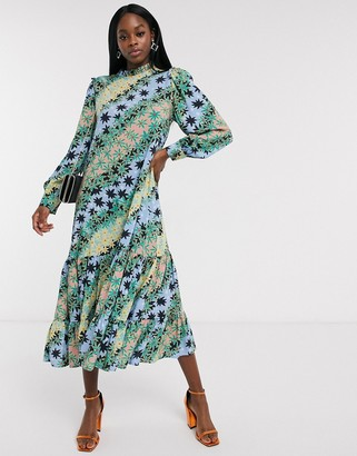 NEVER FULLY DRESSED trapeze midaxi dress with pleated skirt in green contrast scarf print
