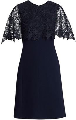 Lela Rose Guipure Lace Capelet Shift Dress