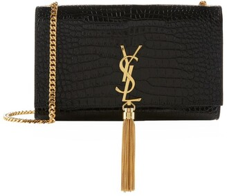 Saint Laurent Medium Kate Tassel Croc-Embossed Shoulder Bag