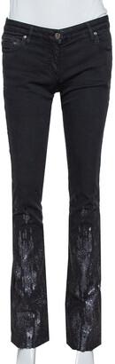 Roberto Cavalli Black Denim Sequin Embellished Jeans S