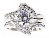 JCPenney FINE JEWELRY DiamonArt Cubic Zirconia Sterling Silver Solitaire Bridal Ring & Guard