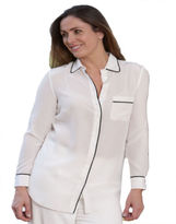 Milan Ladies Off White Soft Silk Light Summer Casual Blouse Shirt