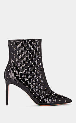 Valentino Garavani Women's Rockstud Patent Leather Ankle Boots - Black
