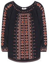 Tory Burch Jessie embroidered silk tunic blouse