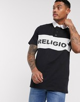 Religion rugby top with block panel logo in black